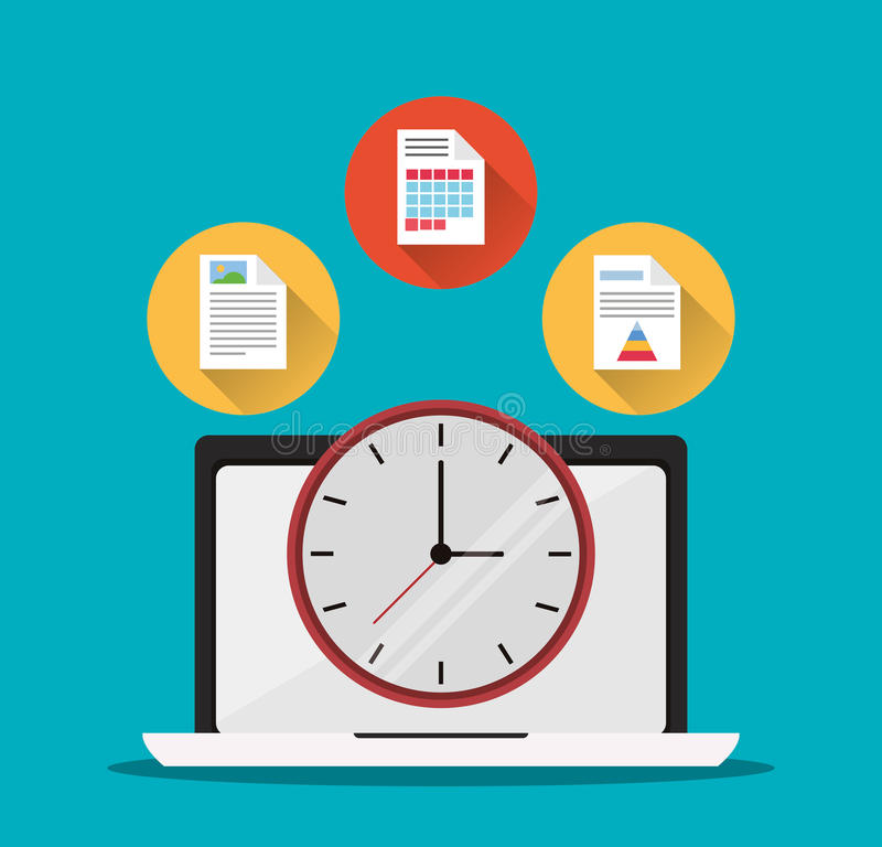 Laptop office work time supply icon, vector. Laptop document infographic clock office work time supply icon. Colorfull and flat illustration, vector royalty free illustration