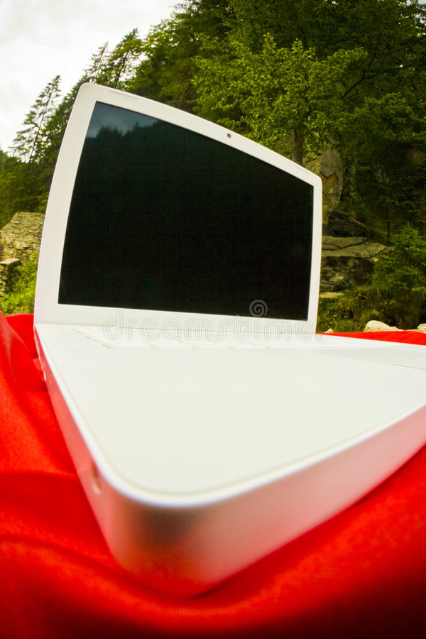 Free Laptop On Red And Trees Stock Photos - 5909253