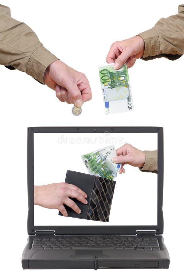 Laptop, online bankwezen stock afbeeldingen