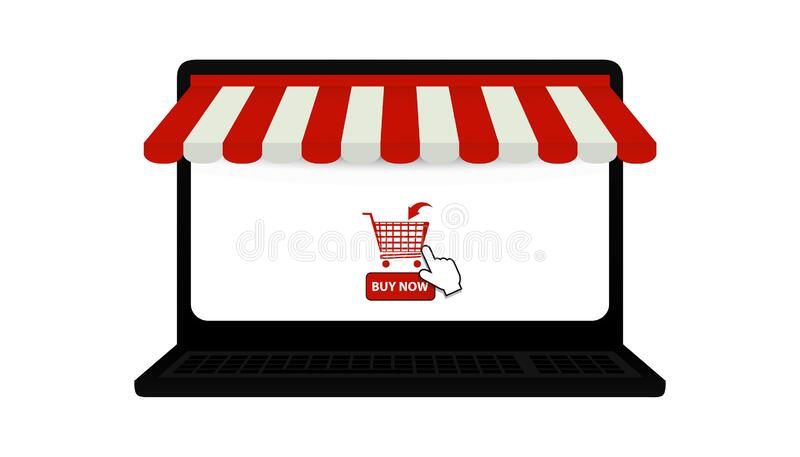 Laptop Online Shop Symbols - Awning, Shopping Cart And Mouse Pointer - 3D Illustration Isolated On White Background stock image
