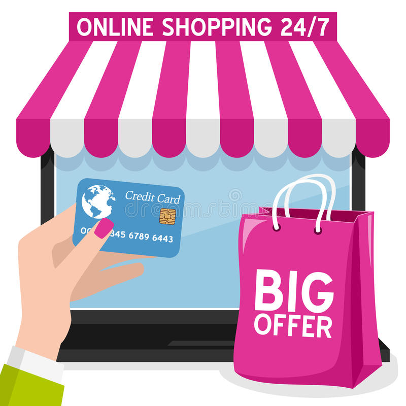 Free Laptop Online Shopping With Pink Bag Stock Photography - 63881682