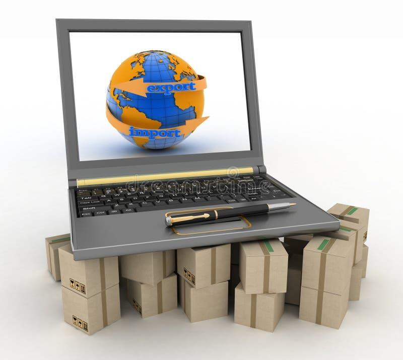 Laptop op kartondozen Het concept online goederen geeft wereldwijd tot opdracht stock illustratie
