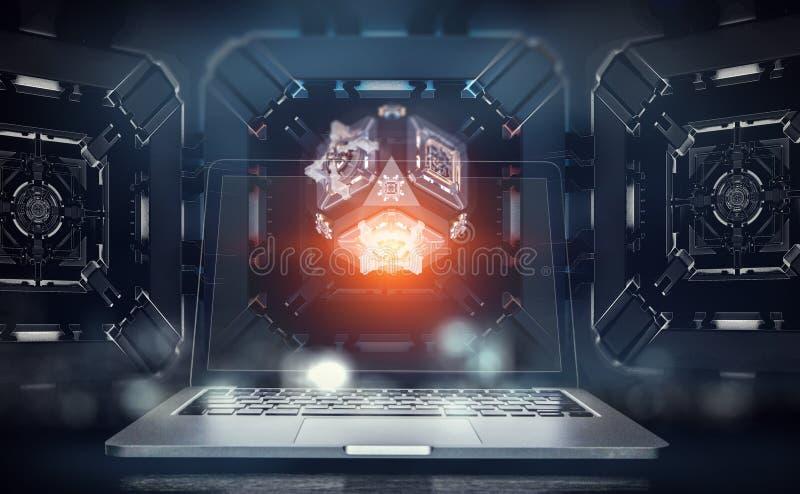 Laptop op mechanische technologie-achtergrond stock fotografie