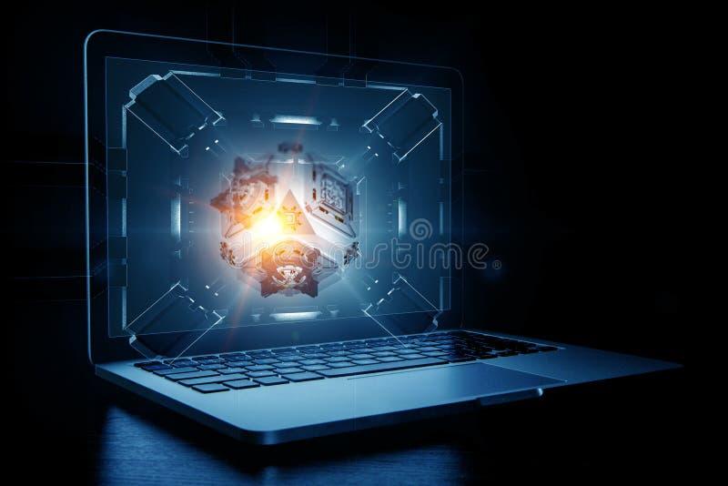Laptop op mechanische technologie-achtergrond stock afbeeldingen