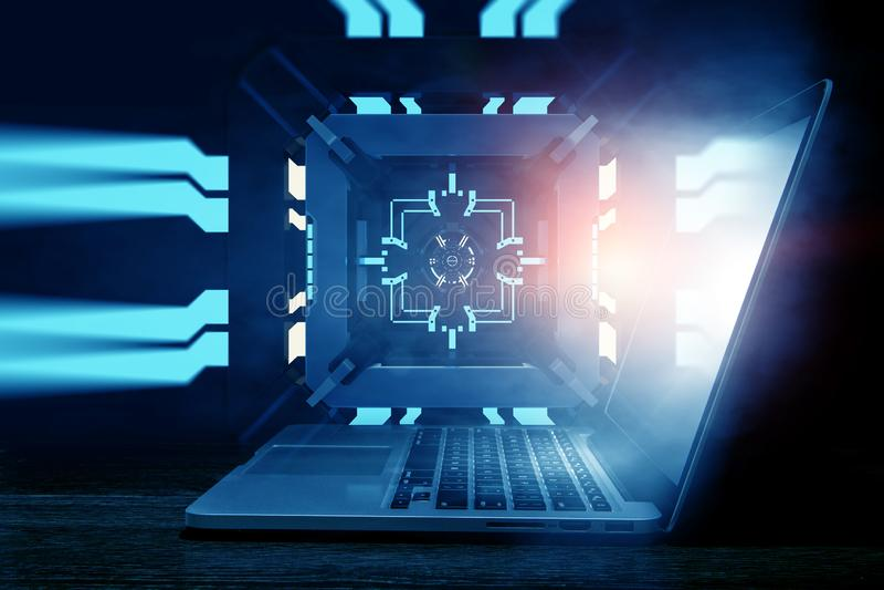 Laptop op mechanische technologie-achtergrond stock afbeelding