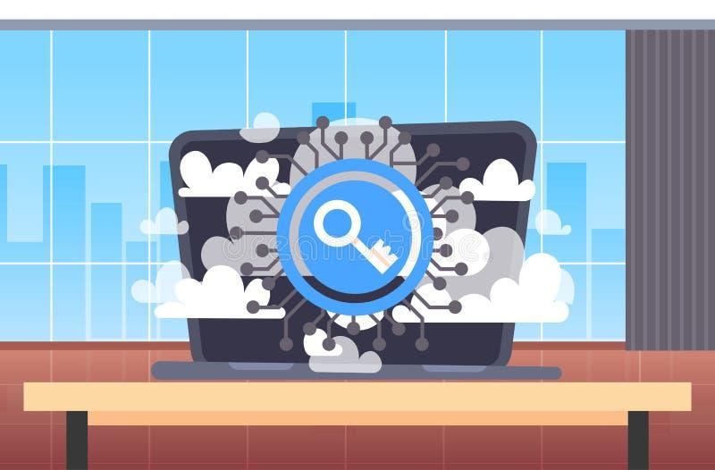 Laptop op van de de gegevensbeschermingprivacy van het werkplaatsbureau van de wolkeninternet het online virtuele concept van de  vector illustratie