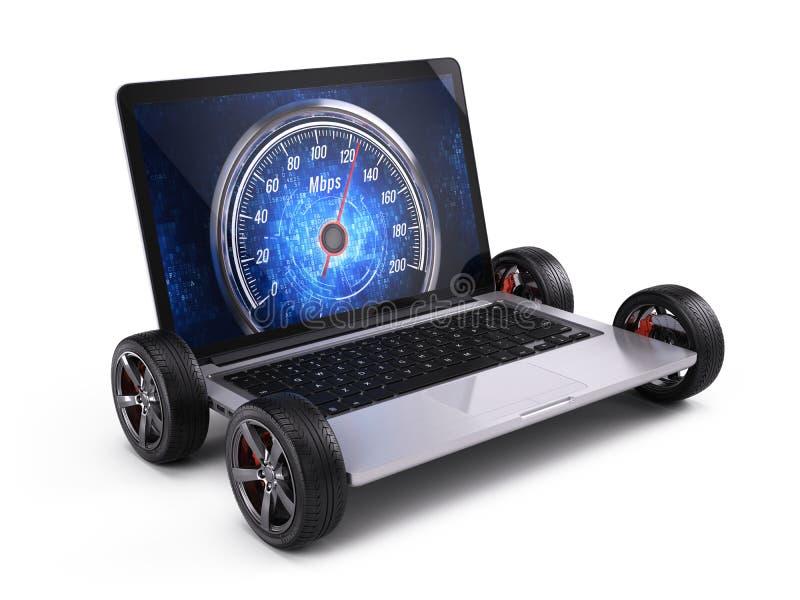 Laptop op wielen met netwerksnelheidsmeter - snelle internetdiensten-conncectionconcept vector illustratie