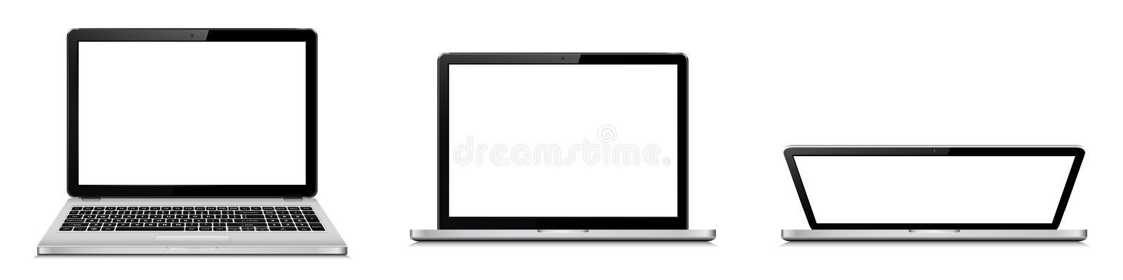 Laptop-open and closed lid stock photo