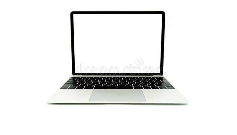 Laptop Open Frontal isolated royalty free stock photography