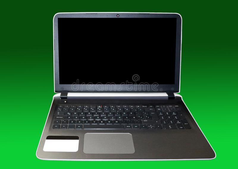 Laptop open but powered off stock images