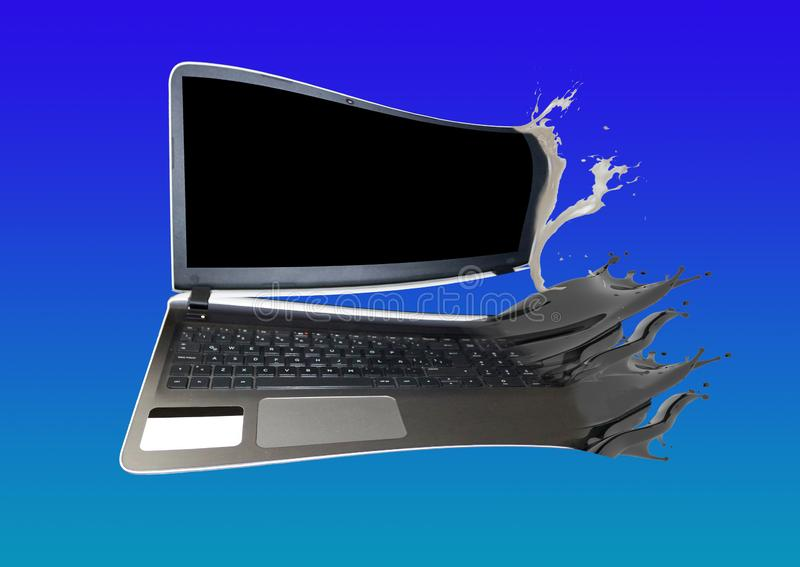 Laptop open but separated by a splash. stock photos