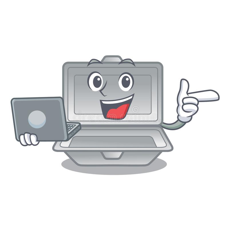 With laptop open styrofoam in the cartoon shape. Vector illustration vector illustration