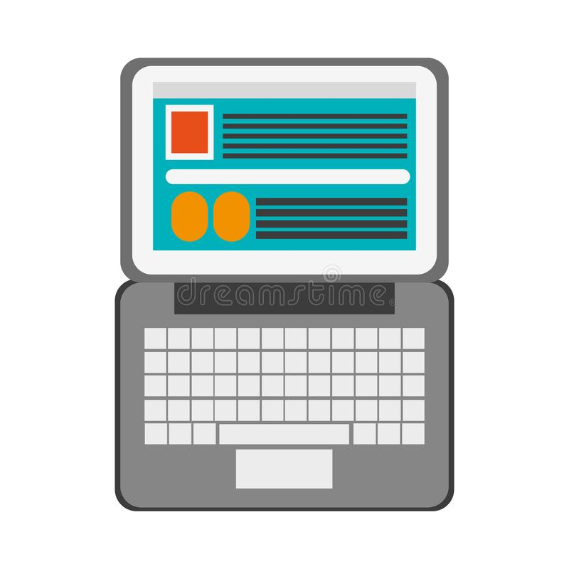 Laptop open with website vector illustration