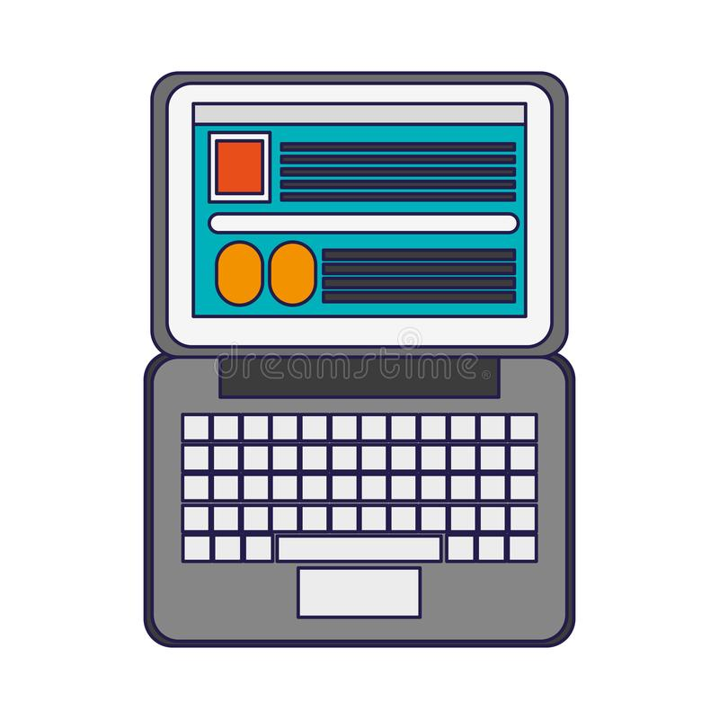 Laptop open with website royalty free illustration