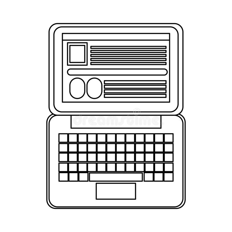 Laptop open with website in black and white stock illustration