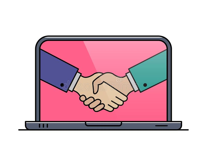 Laptop outline icon with hand shaking gesture royalty free illustration