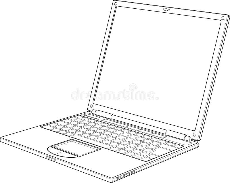 Laptop outline vector illustration vector illustration