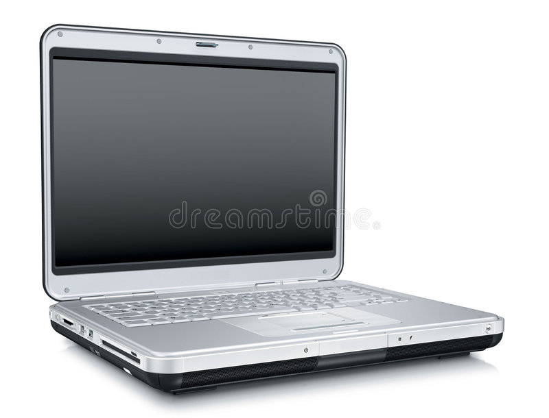 Laptop over Witte Achtergrond stock afbeelding