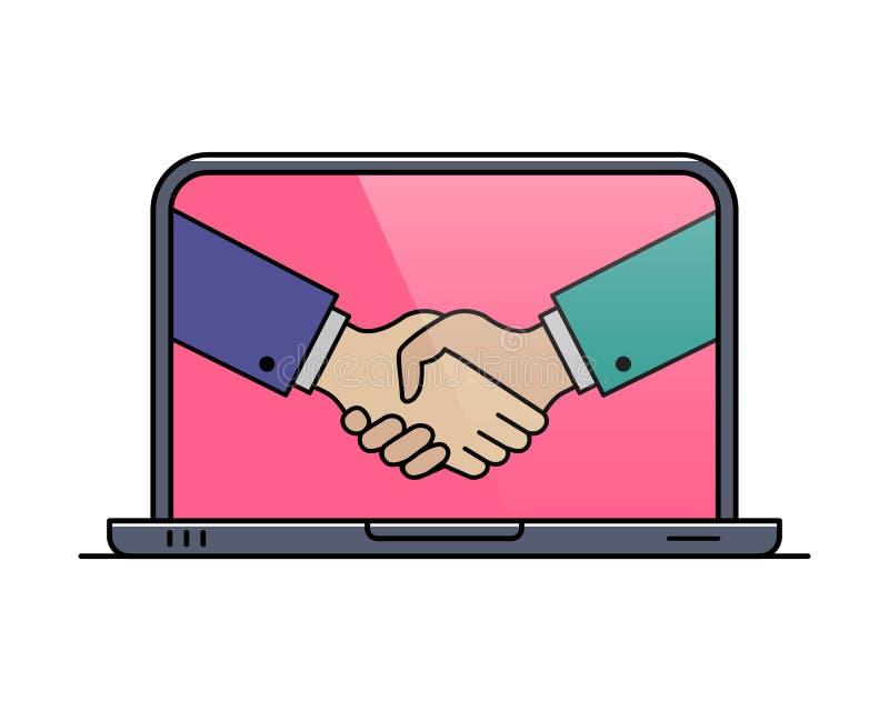 Laptop overzichtspictogram met hand schuddend gebaar royalty-vrije illustratie