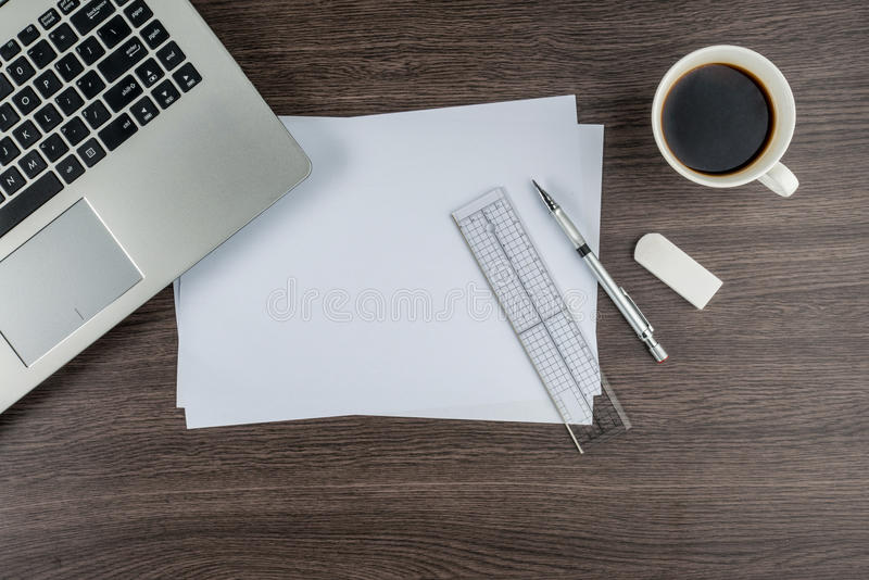 Laptop paper pen ruler and eraser with cup of coffee stock photo download laptop paper pen ruler and eraser with cup of coffee stock photo image malvernweather Image collections