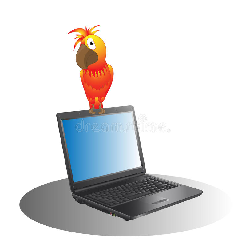 Download Laptop and a parrot stock vector. Image of equipment - 31940063