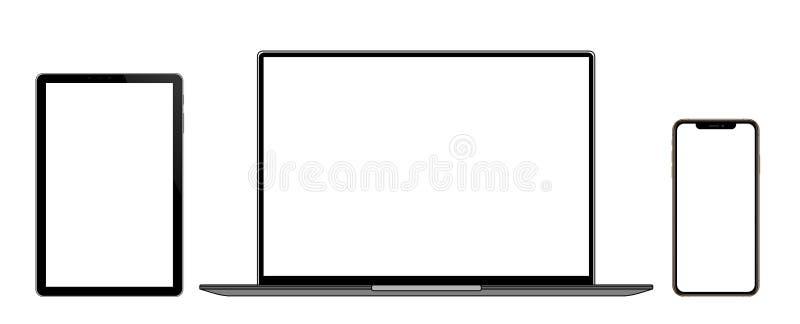 Laptop, pastylka i Mądrze telefon z pustym ekranem Odizolowywającym na białym tle, ilustracji