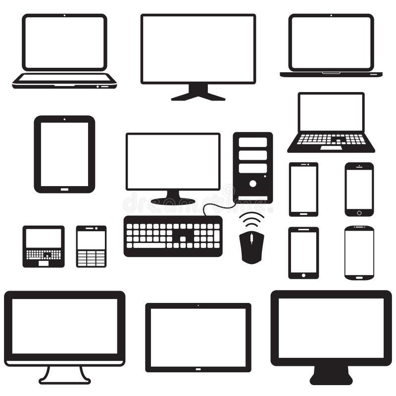 Laptop, pastylka komputer, monitor i wisząca ozdoba ekran, ilustracji