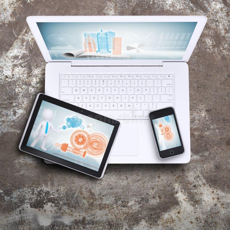 Laptop, pastylka komputer osobisty i mądrze telefon, obrazy stock