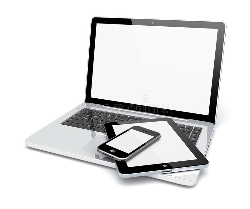 Laptop, pastylka komputer osobisty i smartphone, ilustracji