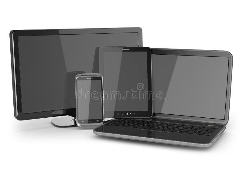 Laptop, pastylka komputer osobisty, tv i telefon komórkowy. royalty ilustracja