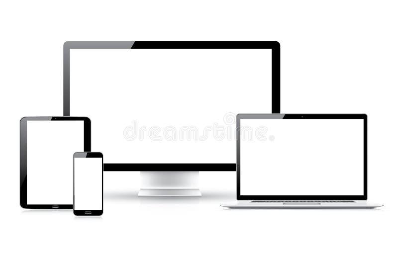 Laptop pastylki smartphone komputeru odosobnienia ilustracja wektor