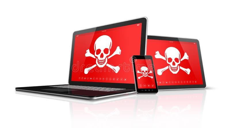 Laptop pastylki smartphone z piratów symbolami na ekranie i komputer osobisty H ilustracji