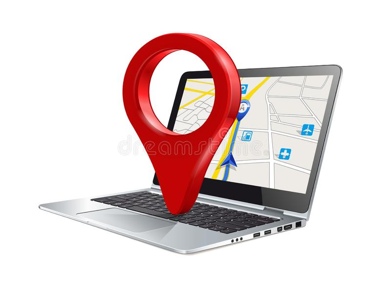 Laptop pc computer with map and pin marker concept royalty free stock photo