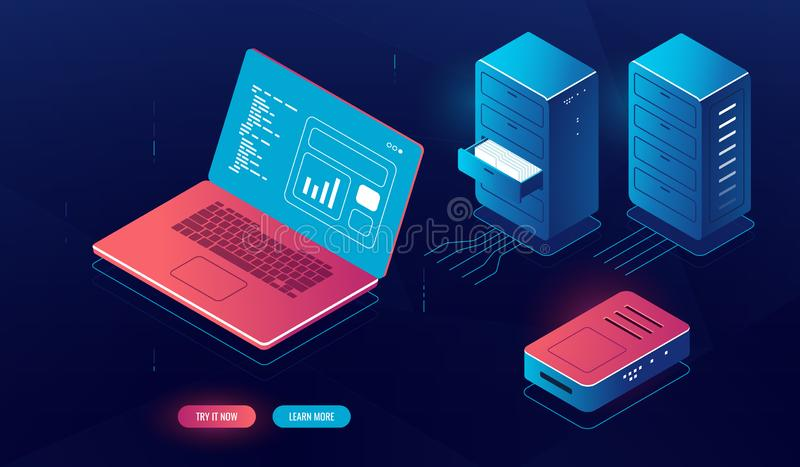 Laptop pc with data processing on screen, cloud computing, isometric server room element, server cabinet rack, file stock illustration