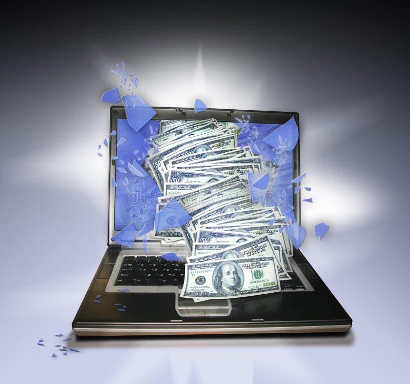 Laptop PC mit Geld lizenzfreie stockfotos