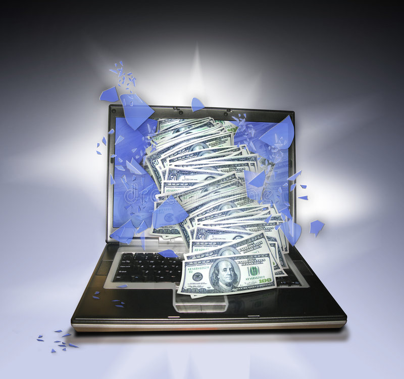 Laptop PC with money royalty free stock photos