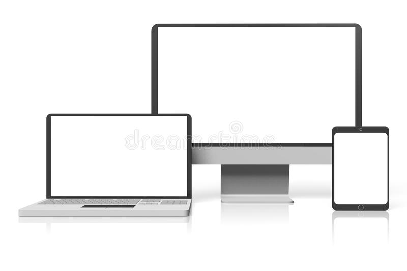 Laptop, pc/ monior and tablet... Laptop, pc/ monior and tablet on white background - great to place your content in them to improve your presentation/ web page stock illustration