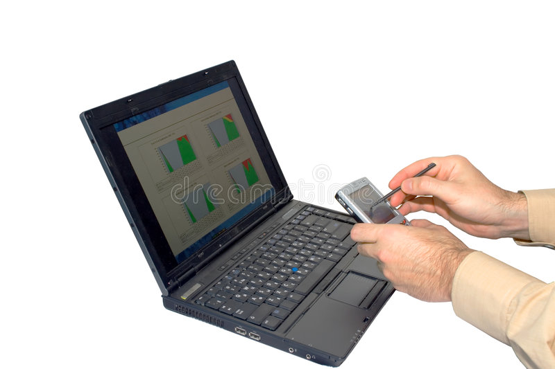 Laptop PDA hand. Businessman work PDA laptop just hands isolated royalty free stock image
