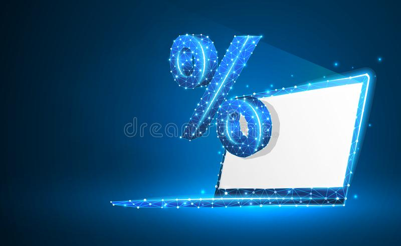 Laptop, percent, notebook symbol. White screen. Devices, calculation, discount, concept. Abstract, digital, wireframe, low poly. Laptop, percent, notebook symbol royalty free illustration