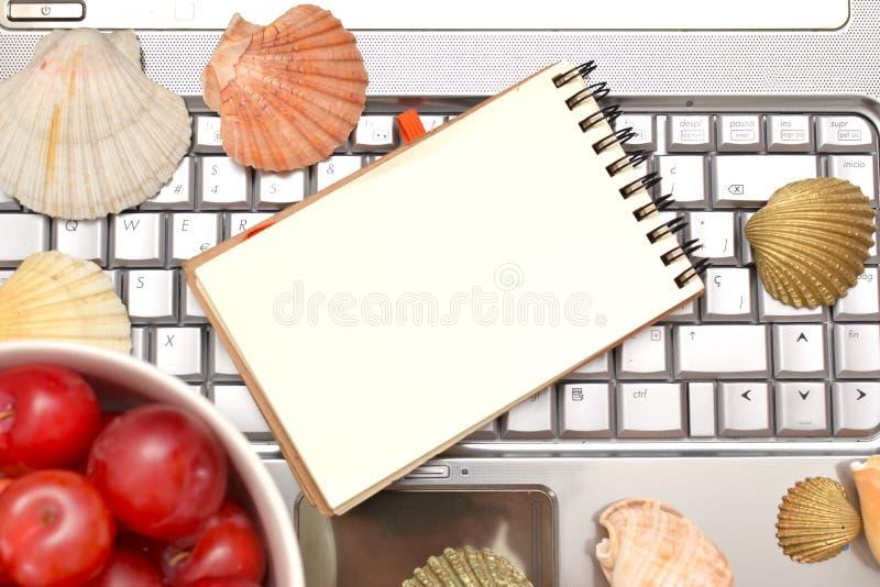 Laptop, Pflaumen und Oberteile stockfoto