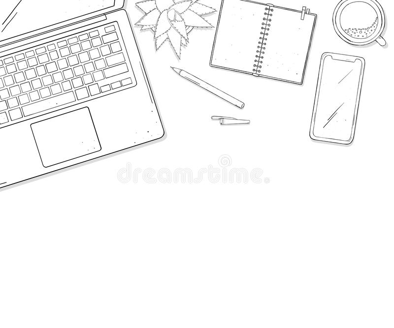 Laptop, phone, Cup of coffee, a notebook and a flower on desktop the top view. Colorless vector illustration in sketch. Laptop, phone, Cup of coffee, a notebook vector illustration