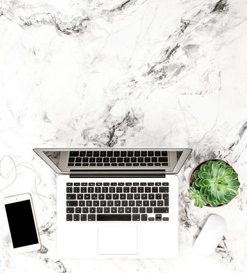 Laptop phone succulent Working desk Flat lay stock photo