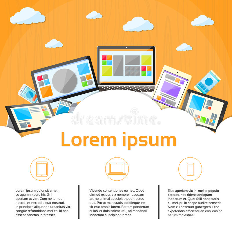 Laptop Phone Tablet Desktop Device Cloud. Copy Space Flat Vector Illustration royalty free illustration