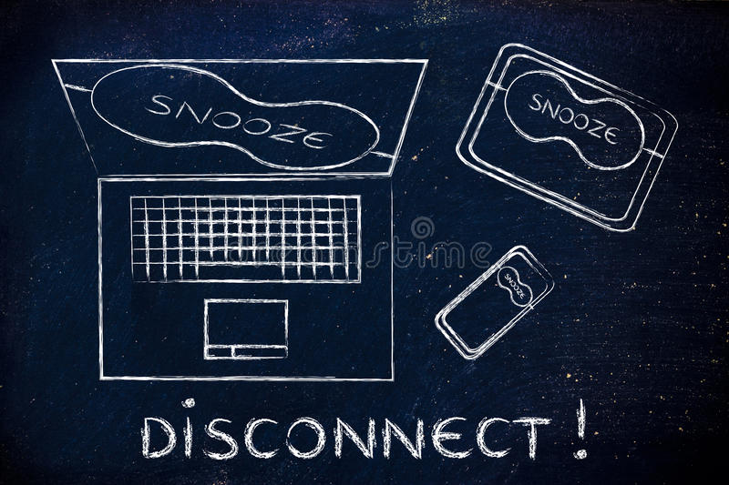Laptop, phone & tablet with eye mask: disconnect!. Disconnect: set of technology devices with on snooze mode with eye mask royalty free stock images