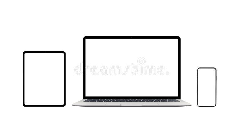 Laptop, phone and tablet isolated. Modern devices with thin edges royalty free stock images