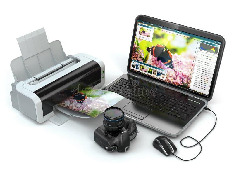 Laptop, photo camera and printer. Preparing images for print. vector illustration