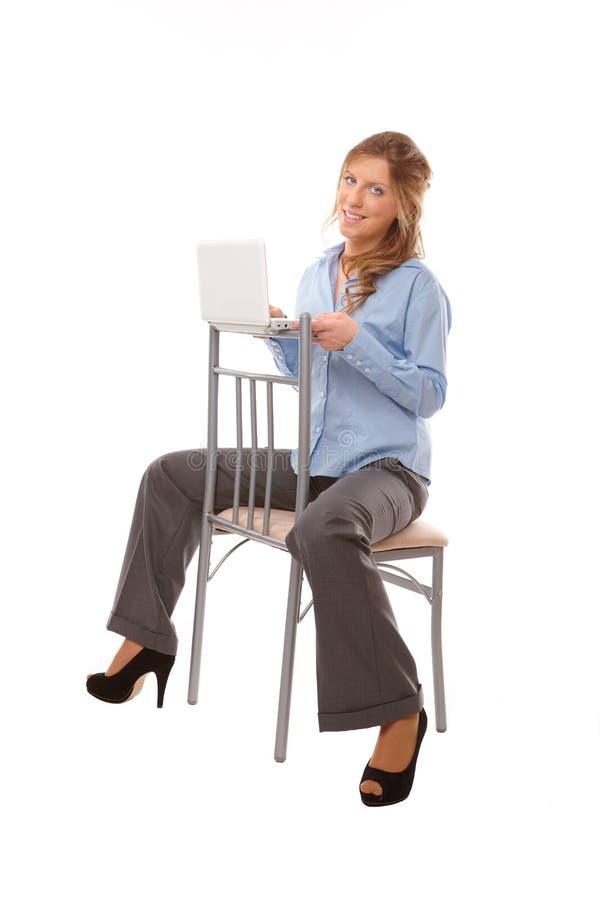 laptop piękna biznesowa kobieta zdjęcia stock