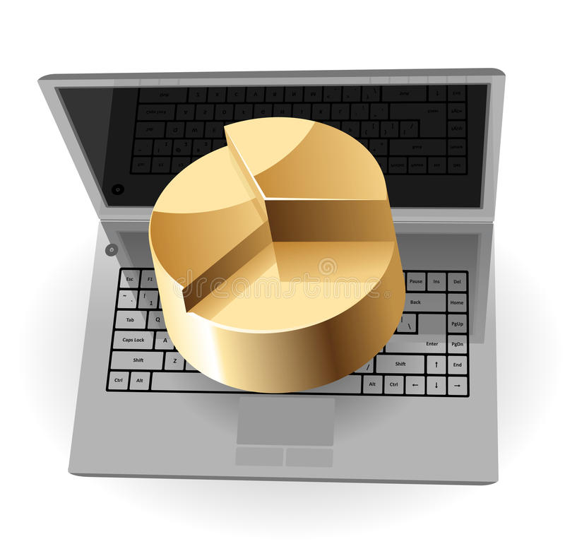 Download Laptop And Pie-chart Royalty Free Stock Photography - Image: 14392477