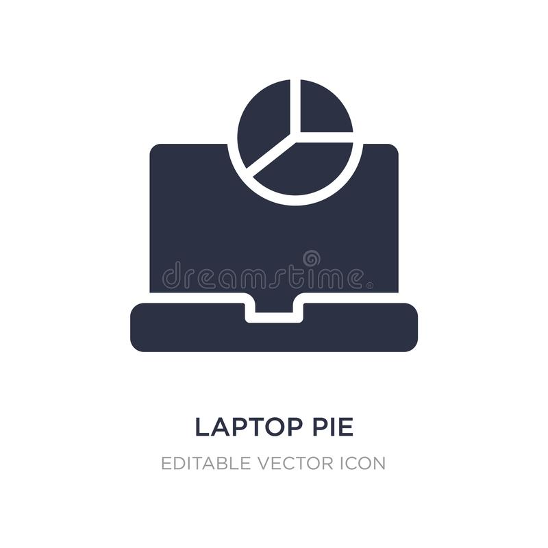 laptop pie chart on screen icon on white background. Simple element illustration from Computer concept vector illustration