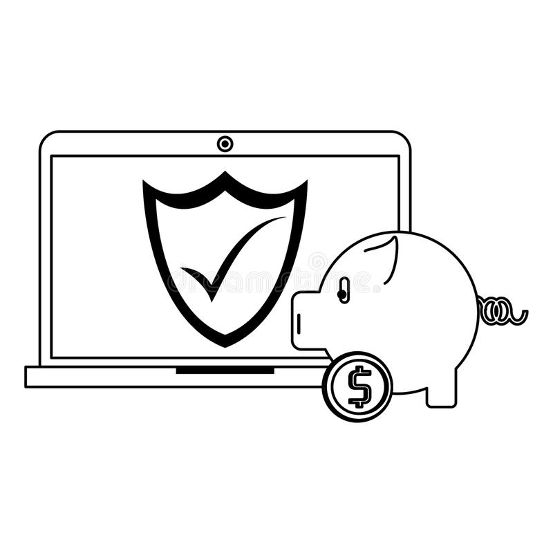 Laptop and piggy bank security money transfer symbols in black and white. Laptop and piggy bank security money transfer symbols vector illustration graphic vector illustration